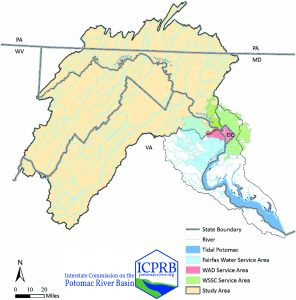 A map of the Potomac River watershed showing the area of study and the water suppliers service areas.
